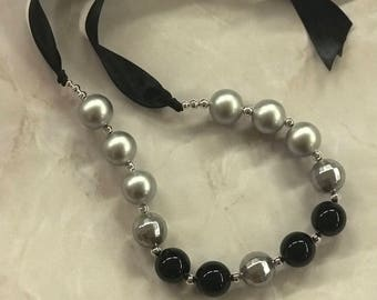Silver and Black Beaded Necklace 20mm