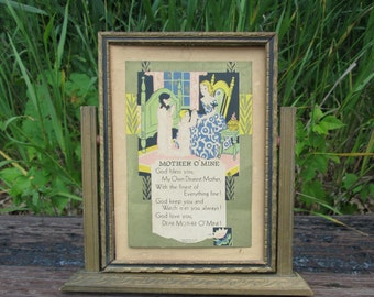 Mother O Mine Poem in Swing Frame Art Deco Vintage 1930 Victorian
