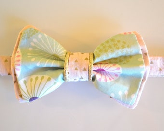 Bow tie man/woman - mint and pink - graphic flower motifs