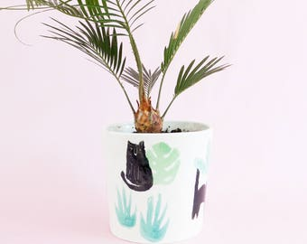 Miso Cats and houseplant medium planter - black cats with plant succulent cacti pattern ceramic pot for indoor or outdoor house plants