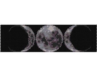 Triple Moon Peyote Bead Pattern, Bracelet Pattern, Bookmark Pattern, Seed Beading Pattern Miyuki Delica Size 11 Beads - PDF Instant Download