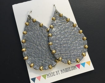 Leather Earrings - Studded Metallic Leather Earrings - Gunmetal Grey With Gold Studs