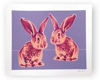 Nursery Wall Art, Rabbit Print, Nursery Decor, Silkscreen Art Print