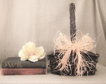 Woodland Wedding Basket / Flower Girl Basket for Vineyard/Farmhouse Wedding / Rustic Grapevine Basket for Wedding or Home Decor