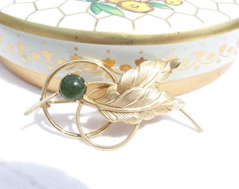 Curtis Creations 12K GF Brooch with Green Bead