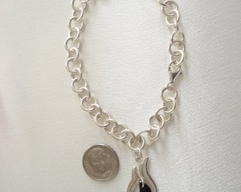 Vintage Large Chunky STERLING Chain Cable Charm Link Bracelet With Removeable Charm Dangle
