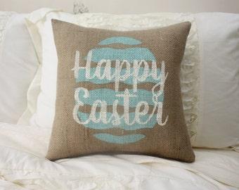 Burlap Pillow / Easter Pillow / Happy Easter / Egg Pillow / Decorative Pillow