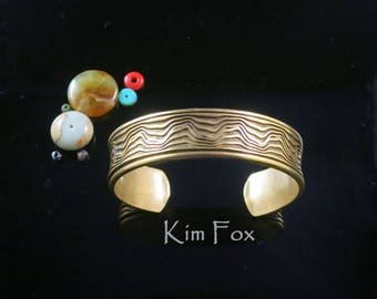 Grand Canyon Cuff deeply carved in Substantial Golden Bronze designed by Kim Fox
