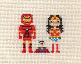 Custom Superhero Cross Stitch Family Portrait in Pixel Art Style (Framed)