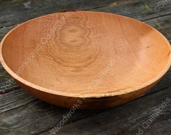 """209 - Red Oak Wood Salad Bowl - 13 5/8"""" inch. Harvested in New Hampshire, Large Hand Turned Wooden Bowl, Food Safe, Family Serving Bowl"""