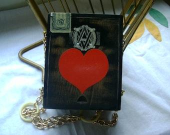 Retro Cigar box Purse with Red Heart