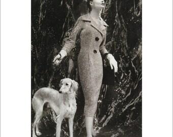 Vintage Vogue Dog Poster Print, Canine Couture, 1950s Saluki Fashion Art, Dog Art, 11 x 14  Mat