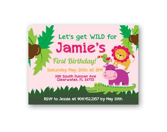 Jungle Theme Birthday Invitation - Girl Birthday Invitation