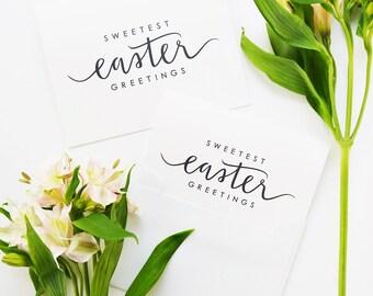 Easter Card / Sweetest Easter Greetings/ Hand Lettered / Blank Inside / Charitable Donation
