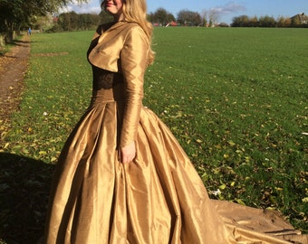 Gold steampunk wedding dress, gold ball gown, wedding dress and bolero