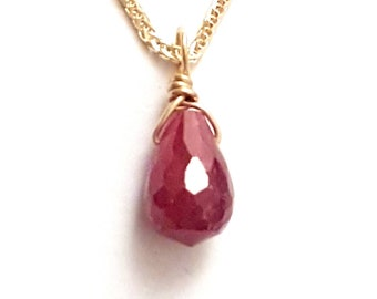 Red Ruby Charm Necklace, 14k Gold Wheat Chain, July Birthstone
