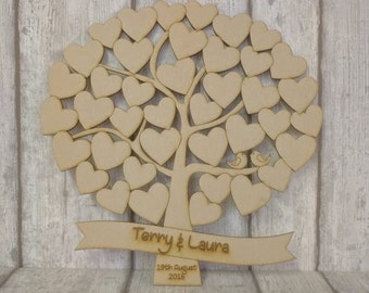 Small Wedding Guest Book Alternative. Wooden Tree Guest Book , 40 hearts listing