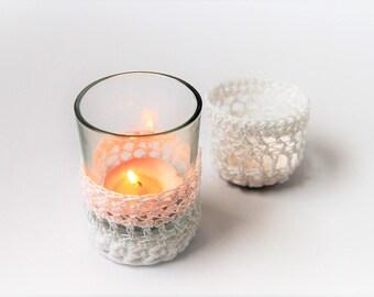 Tea light / candle holder / set of 2 / wedding / White / mini / handmade / votive Cup / Gift idea / eco friendly / the dusty hovel