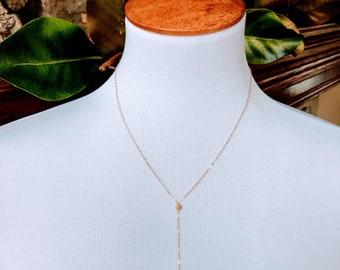 Simple Elegant Gold Y Necklace ~ Rose Gold Y Necklace ~ NBJ341b ~ Sparkly Necklace~Gold Necklace~Sterling Silver Y Necklace~Custom Necklace