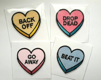Heart Patches, Heart Candy Patches, Go Away Patch, Back Off Patch, Drop Dead Patch, Beat It Patch, Anti Valentines Day Patches, Iron On 1pc