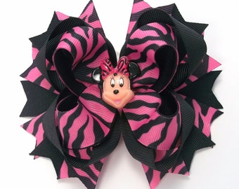 Mouse Pink And Black Zebra,   Boutique Hair Bows,  Girls Hair Bows, Toddler Hair Bows,  Mouse Zebra Hair Accessories