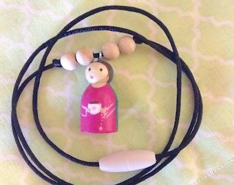 Mama Mary Peg Doll Necklace Catholic Jewelry Catholic Kids Jewelry Catholic Mother Gift