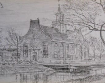 vintage graphite drawing den helder  the Netherlands a small church signed ca 1981