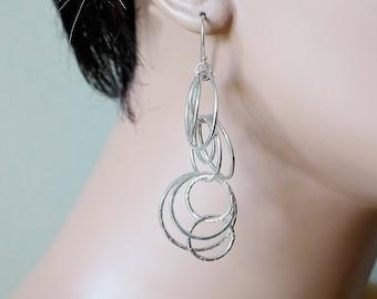 Sterling Silver Bubbly Long Earrings • Dangle Earrings • Silver Earrings • Boho Earrings • Boho Jewelry • Silver Drop Earrings Gift for Her