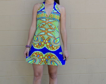 Vintage 90s Psychedelic Halter Mini Festival Rave Dress Black Light Activated