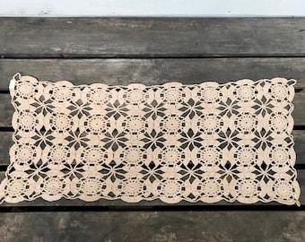 Vintage Doily Table Runner, Light Tan Crocheted Doily Runner, Medallion Pattern, circa 1950s-1960s