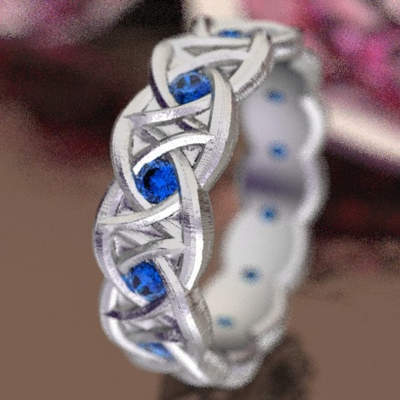 Celtic Blue Sapphire Wedding Ring With Dara Knot Design in Sterling Silver, Made in Your Size CR-1036