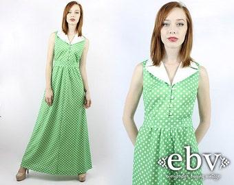 Vintage 70s Green and White Polka Dot Maxi Dress XS S Vintage Hippie Dress Hippy Dress Polka Dot Dress Green Maxi Dress