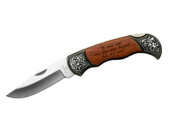 Custom Engraved Quote on Rosewood Pocket Knife Gift Personalized Engraved Keepsake - Gift for boyfriend, husband, father