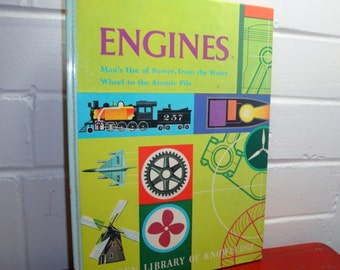 Vintage Engines Golden Library Of Knowledge, Children's Reference Book, Home School, Mid Century, 1961  (394-10)