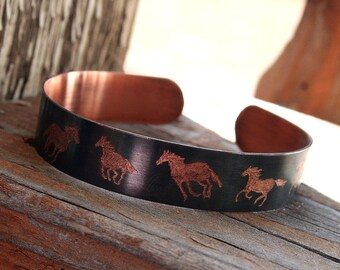 Copper Healing Bracelet - Wild Horses - Hand Engraved and Personalized by Smash Gardens on Etsy, Western Jewelry, Personalized Bracelet
