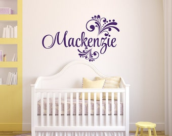 Baby Girl Nursery Wall Decal - Swirly Name Decal - Girls Name Wall Decal - Vinyl Wall Decal - Vinyl Lettering