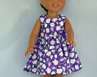 Lots of Flowers in Purple Doll Dress Handmade To Fit 14.5 Inch Dolls Like Wellie Wishers