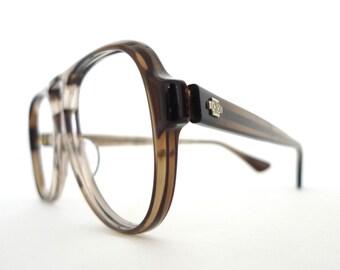 Big NOS Aviator Frame Marble Grey Brown Smoke Eyeglasses Sunglasses Hip Hop Sunnies 70s 80s Pilot Driver Shooters Designer Disco Nerd