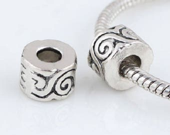 2 beads large hole 10 * 7mm antique silver, ethnic spirit approx.