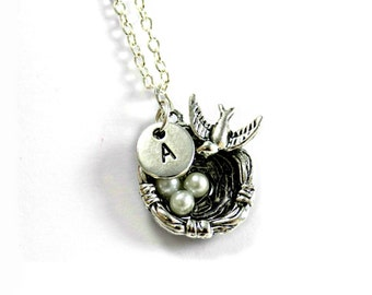 Easter Gifts For Kids, Silver Bird Necklace, Quirky Gifts For Children, Cute Animal Gift, Wildlife Gift, Unique Bird Jewelry, Birds Nest