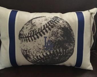 LA Dodgers Vintage Baseball Pillow