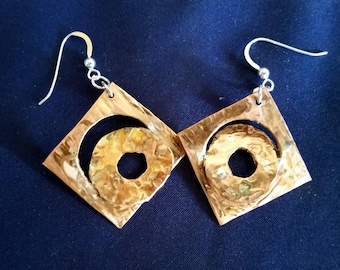 Copper and Sterling Silver Earrings, One of A Kind Abstract Design, Artisan Earrings, Handmade in the USA, Handmade Earrings