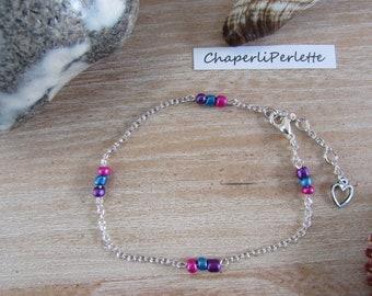 Silver chain anklet chain fuschia purple, blue glass beads