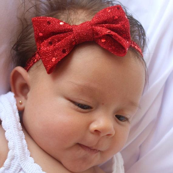 Baby Bow Headband, Red Headband, Baby Bow Headband, Baby Headband, Bow Headband Baby,  Baby Girl Headband, Newborn Headband