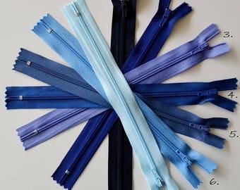 Zipper - 20cms - color blue