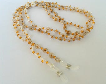 Brown and white tatting glasses cord
