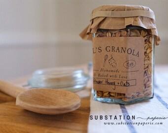 Granola Rubber Stamp - Baked with Love - Homemade Granola - Homemade - Handmade - Recipe - Gift Basket - DIY - Baker - Food Packaging Labels