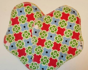 Set of 2 Pink Green & Blue Flowers Printed Reusable Cloth Mama Pads . 8 Inch FREE Shipping