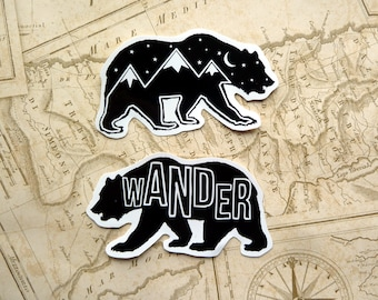 1 Bear Gloss Vinyl Sticker, Travel, Wander, Mountains, Wanderlust, Adventure, Illustration, Quote, Stars, Travel Gift, Laptop, Cute stickers