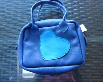 Small blue leather handbag